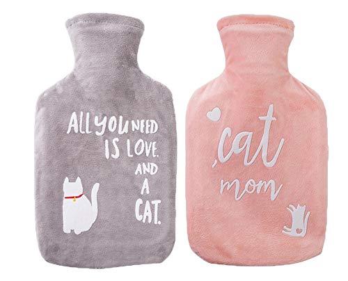 Super Soft Cover Wärmflasche Tasche, Plüsch Körperwärmer Nette Abstrakte Katze Druckwasserbeutel 2 stücke set