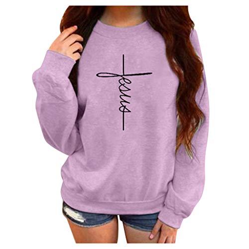 Damen Freizeit Langarmshirts,Winter druck Rundhals Langarm Plus Samt Sweatshirt Bluse Einfacher Musterdruck der Persönlichkeit M-5XL (Shirt Manschette Sleeve Lila)