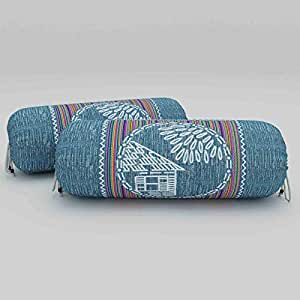 Sanganeri Cart Pure Cotton Foam 16x32 Inch Printed Bolster Cover (Pack of 2)