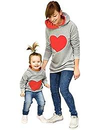 Ropa de la Familia, Xiahbong Otoño de Invierno Sudadera con Capucha Caliente Hijos de Madre Patrón Cardíaco Sweatshirt