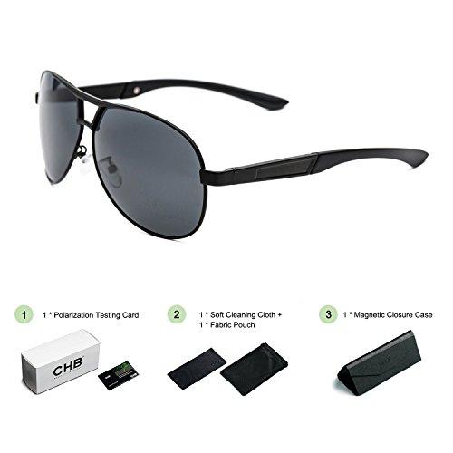 CHB Polarisierte Sonnenbrille Pilotenbrille Metallrahmen UV400 Schutz Männer mit Etui für alle...
