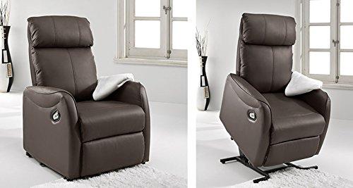 Sillón Elevador Automático - Butaca Levantapersonas - Modelo Relax Automático. Reclinable. Material Polipiel, color chocolate