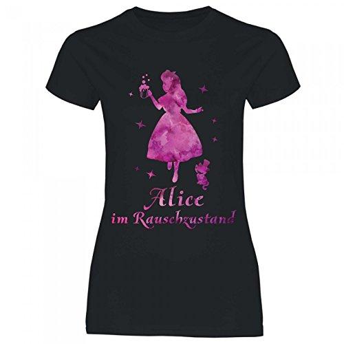 Royal Shirt a11 Damen T-Shirt Alice IM Rauschzustand | Funshirt für Party, Größe:XL, - Elegante Kostüm Alice