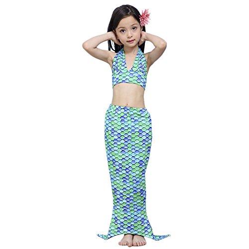 D'amelie Kinder Mädchen Meerjungfrau Schwanz Mermaid Kostüm 3tlg. Badeanzug schuppen Bikini Set