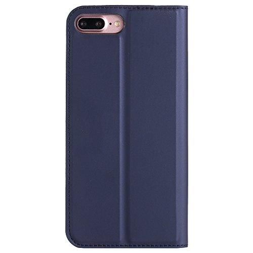 Hülle für iPhone 7 plus , Schutzhülle Für iPhone 7 Plus Normallack-einfache Beschaffenheit PU-lederner Fall-magnetischer Verschluss-Art-Standplatz-Fall-Abdeckung mit Einbauschlitz ,hülle für iPhone 7  Blue