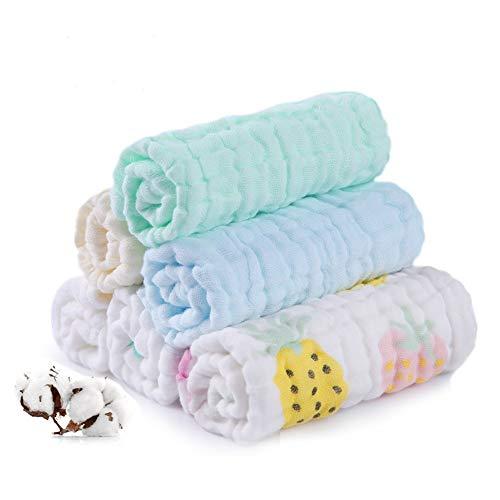 Set da 6 mussole neonato asciugamani per neonato in mussola bagnetto cambio pulizia 100% cotone mussolino bavaglino tovagliolo fazzoletto salviettine 25,4 x 25,4cm