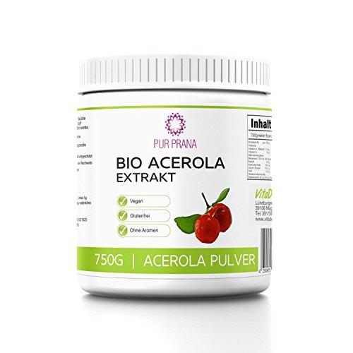 Bio Acerola Extrakt Pulver, 750g Superfood Acerolapulver aus der Kirsche - Pur Prana - natürliches Vitamin C