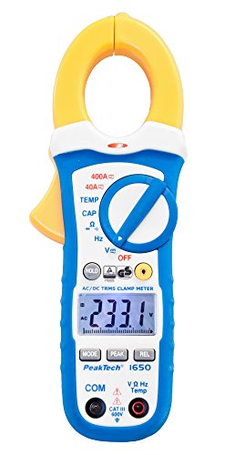 PeakTech 1650 – True RMS Stromzange 400A AC/DC, Digital Multimeter, Zangenmessgerät, TÜV/GS, Strommesszange, 4000 Counts, Berührungsloser Spannungsmesser, Strommessgerät, Durchgangsprüfer – Max. 600 V