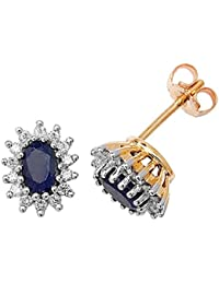 9ct Yellow Gold Diamond & Oval Sapphire Stud Earrings