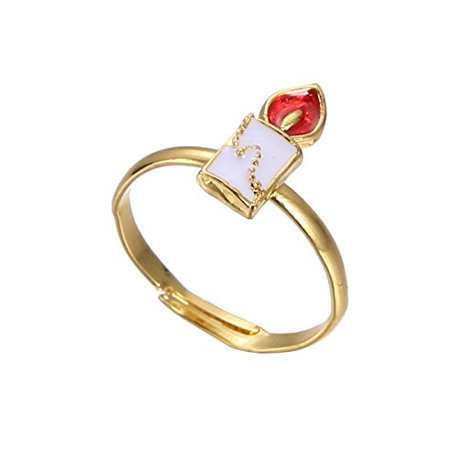 Gold-Ton Weihnachtskerze Ring Größe 17 (De) 6 1/4 (Us) Einstellbar Festlich Weihnachten Tier Schnee Öffnen Stengel