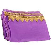 Mantón Velo de Danza del Vientre con Decoración de Gasa de Color Oro y Púrpura