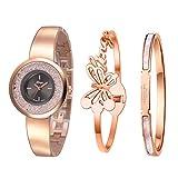 Xinge XG181005 Armreif- und Armbanduhr-Set für Damen, Roségold, 3 Stück