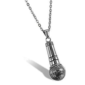 Herren Anhänger Edelstahl mit Halskette , OIDEA vintage Mikrofon Anhänger 55cm Kette , schwarz silber
