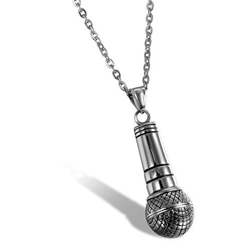 Oidea Collar de Hombre Micrófono Colgante Único de Acero Inoxidable Vintage de Hip Hop Música Joyería con Cadena Regalo Original Chulo de Amor, Plata