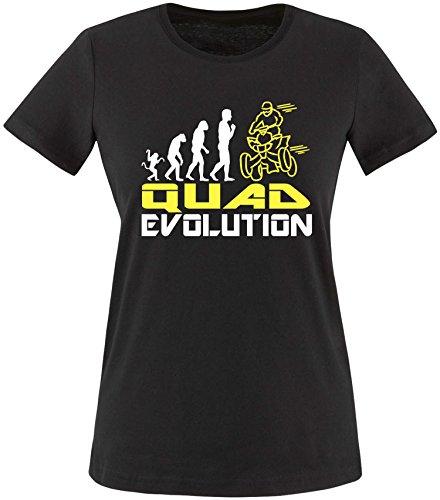 EZYshirt® Quad Evolution Damen Rundhals T-Shirt Schwarz/Weiss/Gelb