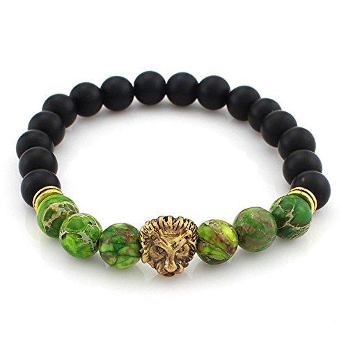 Buddhistische Gebetskette, Canvalite Löwe Achat Mala Gebetskette für Meditation Gebeten (Frauen Löwe Diy Kostüm)