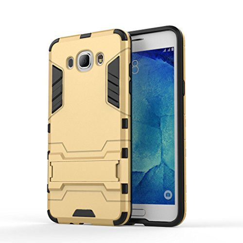 Chevron Back Cover Case for Samsung Galaxy J7 - 6 (New 2016 Edition) (Gold) [Military Grade Version 2.0 With Kick Stand Hybrid Back Cover Case]