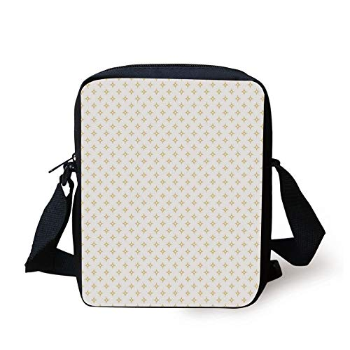 CBBBB Modern,Diamond Like Small Stars Pattern for Home Office Contemporary Artprint Decorative,Apricot Yellow and White Print Kids Crossbody Messenger Bag Purse 6 Cell White Star