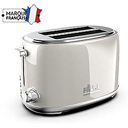 Faure FT2S-81101 Grille pain Design Vintage - 810W puissance réglable - Ejection Haute - 2 Larges Fentes - Coloris Crème