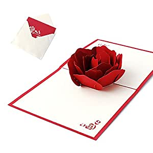 Kofun biglietto d' auguri con busta, rose 3D Pop Up biglietto d' auguri di compleanno di Natale anno nuovo invito cartolina di taglio della carta regalo per San Valentino, festa rosa