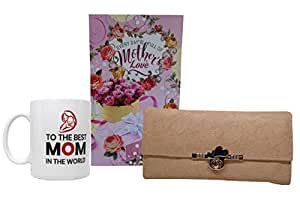 Saugat Women's Day Mother/Mom Gift | Best Mother Coffee Mug, Greeting Card and Leather Wallet/Handbag for Mother/Mom (Cream)