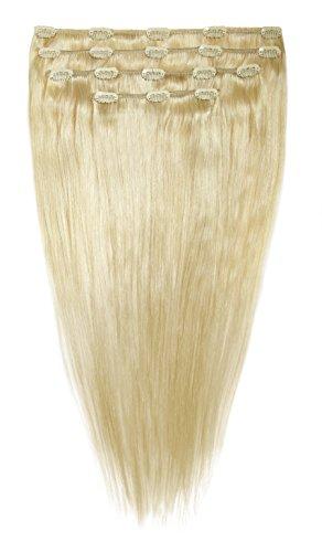 American Dream Lot Tête Complète de Luxueuses Extensions Clip In 100 % Cheveux Humains Couleur 60/613 Blond Pur/Blond Crème