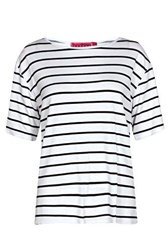 Marine Femmes Amelia T-shirt Surdimensionné Basique À Rayures Marine