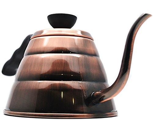 RENMEN Hand Kaffeekanne Wolke Kaffeemaschine Edelstahl Kaffeekanne Lange Mund feinen Wasserkocher 1L Kupfer/Silber, Brown
