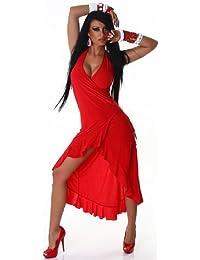 Jela London Damen Sommerkleid & Tanzkleid in Wickeloptik Einheitsgröße (32-38)
