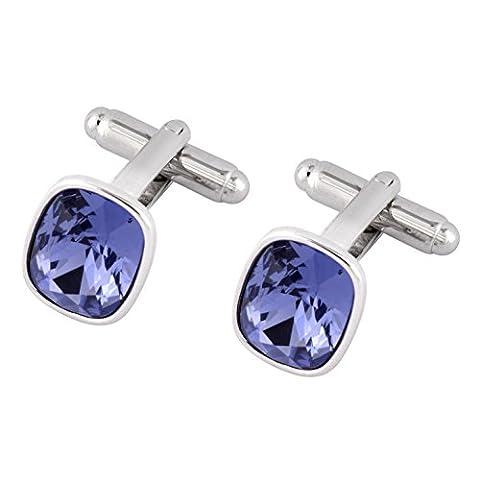 Cufflinks with Swarovski Tanzanite Crystals - Ideal Gift for Men - Luxury Gift Box