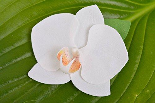 Pinza-para-el-pelo-de-goma-EVA-artesanal-blanca-orquidea-bonita