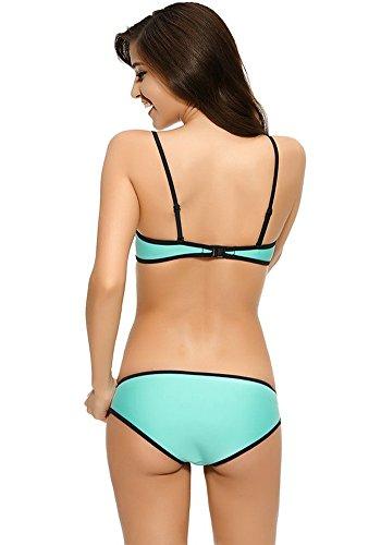 Botobkn Donne Neoprene Scafandro Costume bikini insieme Costume Brillante Light Blue
