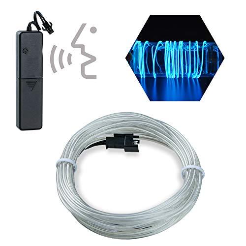 / 3M Sound aktiviert Neon leuchtende Strobing Elektrolumineszenz Draht/El Draht mit 3 Modi (Eisblau) ()