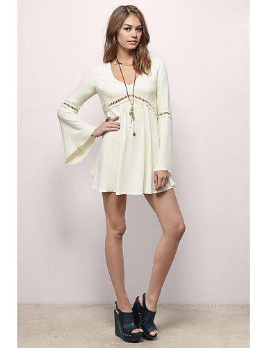 PU&PU Robe Aux femmes Ample Décontracté , Couleur Pleine Col en V Au dessus du genou Coton / Rayonne beige-l
