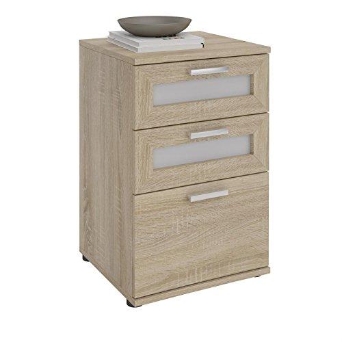 CARO-Möbel Nachttisch für Boxspringbetten Nachtschrank Nachtkommode MARIKE in Sonoma Eiche, mit 3 Schubladen