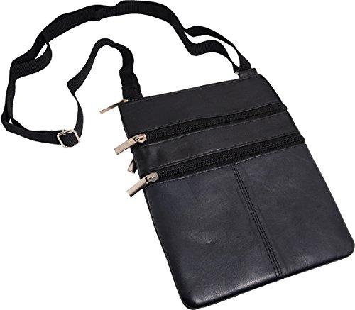 Strapazierfähiger Brustbeutel aus Lamm Nappa Leder (schwarz) schwarz