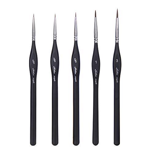 Fuumuui Detail Pinsel Miniaturpinsel-5 Stück Bestes Berufs-Detail Pinsel, Qualitäts-Miniaturbürsten EIN Fine Point und Spring halten, für Aquarell, Öl, Acryl, Nail Art & Modellbau (Nail Acryl-pinsel-set)