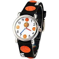 El Reloj de Niños de Vinmori, Reloj de Cuarzo con Dibujos Animados Bonitos de 3D a Prueba de Agua Regalo para Chicos Niños y Niñas Baloncesto negro