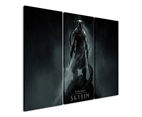 Leinwandbild 3 teilig The_Elder_Scrolls_Skyrim-_3x90x40cm (Gesamt 120x90cm) _Ausführung schöner Kunstdruck auf echter Leinwand als Wandbild auf Keilrahmen