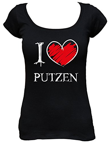 I love Putzen Fun Damen Boat Neck T-Shirt_schwarz_S
