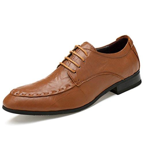 ailishabroy Männer Schuhe Herren Business Schnüren Schwarz Schnürhalbschuhe (38 EU, Hellbraun)