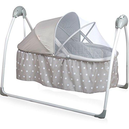 *Babyschaukel/Babybett (vollautomatisch 240V) mit 5 Schaukelgeschwindigkeiten, 12 Melodien & 3 Timer (Inklusive: Matratze & Baldachin mit Moskitonetz) (Grau Sterne)*