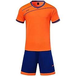 KINDOYO Niño Hombres Ropa Deportiva Camiseta y Pantalones Cortos Conjunto de Entrenamiento de Equipo de Competencia de Deportes Traje Todos los tamaños, Naranja/XS-Niños