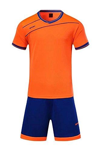XFentech Herren Kinder Sommer Sportbekleidung Fußball Kleidung Oberteile und Shorts Set Training Wettbewerb Sport Kostüm Alle Größen, (Alle Orange Kostüm)