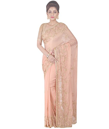 Indian Ethnic Pure Georgette Peach Designer Saree (Peach Georgette)
