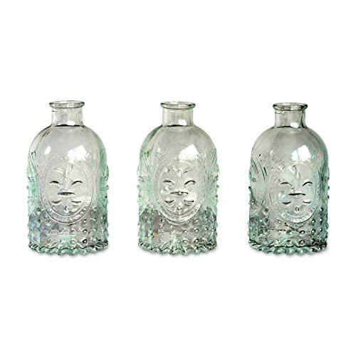anze Haus Welten Die Fleur Di Lise French Country Style Mini Flasche Vasen, Box Set von 3, Pressglas, je 43/10,2cm Hoch, von ()