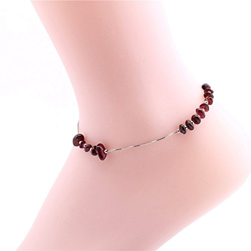 natural-garnet-gravel-anklet-lady-simple-casual-beach-anklet-comfortable-casual-foot-ornamentsonecol