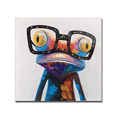 Handgemalte Modernen Familie Dekor ÖLgemäLde Tiere Leinwand Acrylmalerei Wand Kunst Dekoration Bunten Frosch Mit Brille,NoFrame,75x75cm