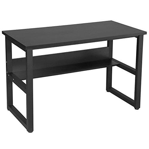 SONGMICS Schreibtisch Stabiler Computertisch 120 x 60 cm, Großer PC-Tisch mit Regal 25MM Dicke,...