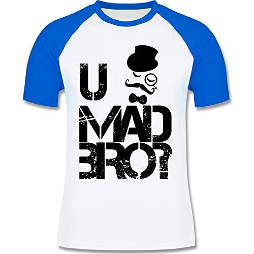 Hipster - U MAD BRO? - zweifarbiges Baseballshirt für Männer Weiß/Royalblau